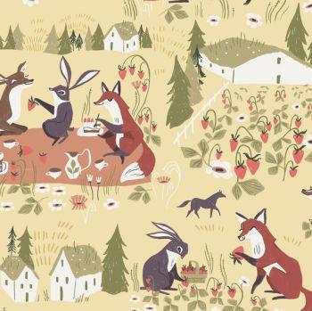 Strawberry Fields Cornsilk Rabbit Deer Fox Hare Picnic Animal Scenic Floral Dear Stella Cotton Fabric