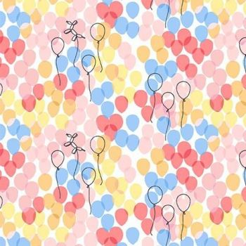 Michael Miller Celebrate Sandra Clemons Floating Balloons Blossom Nursery Cotton Fabric