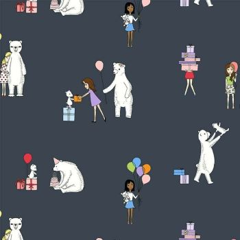 Michael Miller Celebrate Sandra Clemons Party in Metal Polar Bear Nursery Cotton Fabric