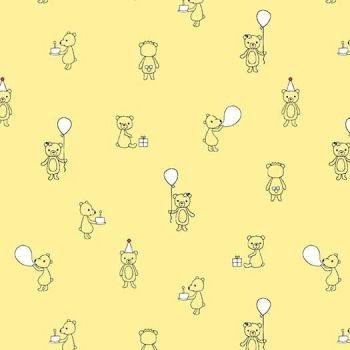 Michael Miller Celebrate Sandra Clemons Bear Cubs Lemon Nursery Cotton Fabric