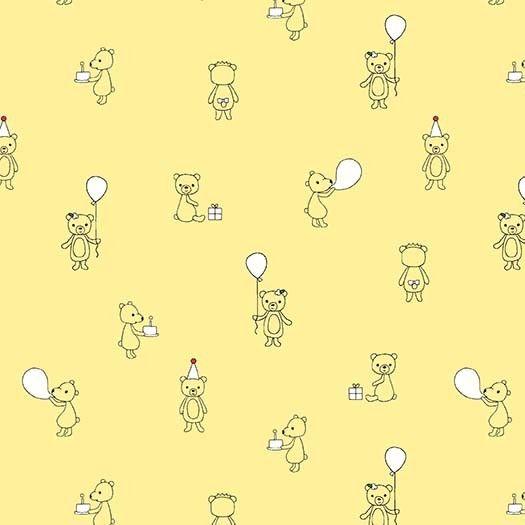 Michael Miller Celebrate Sandra Clemons Bear Cubs Lemon Nursery Cotton Fabr