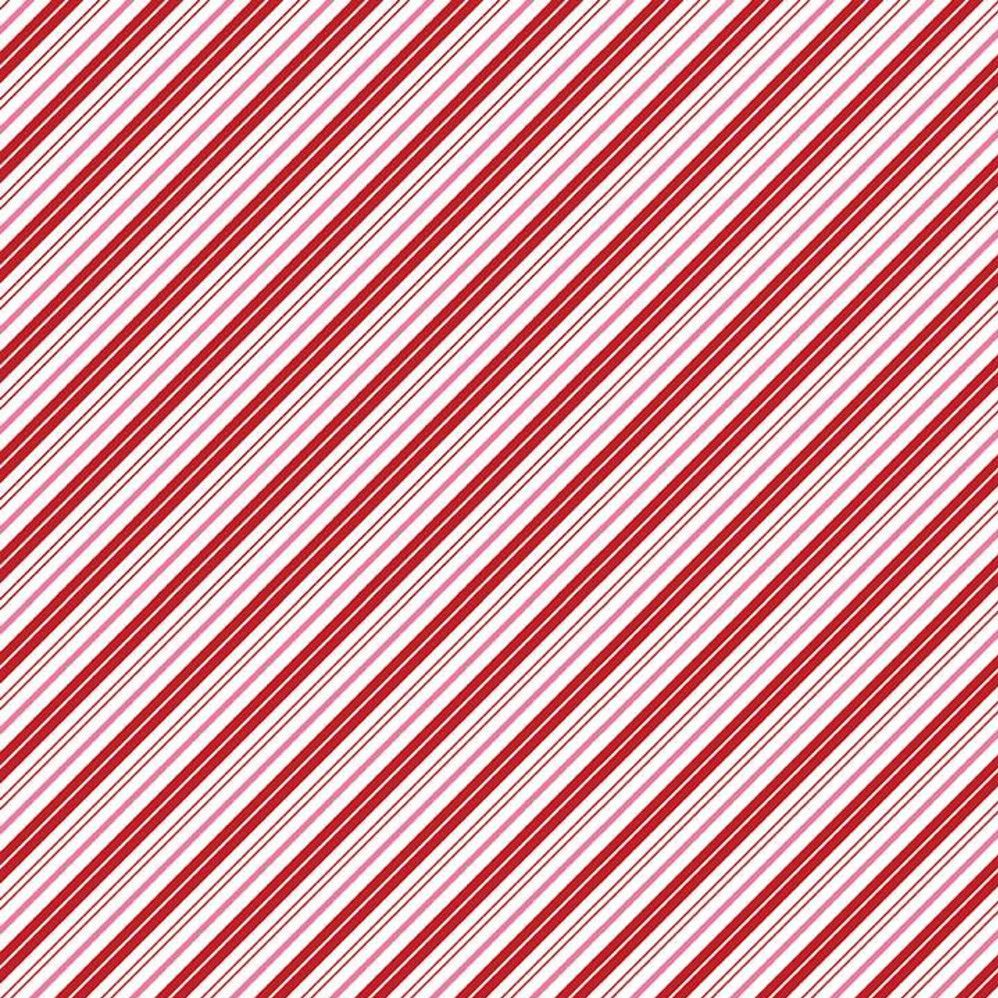 Santa Claus Lane Candy Stripes Red PChristmas Festive Holiday Winter Cotton