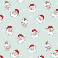 Santa Claus Lane Main Mint Father Christmas Mrs Claus Heads Christmas Festive Holiday Winter Cotton Fabric