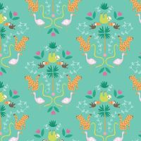 Under The Canopy Main Green Toucan Sloth Flamingo Leopard Jungle Animal Citrus and Mint Cotton Fabric