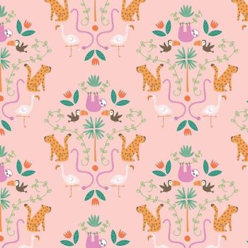 Under The Canopy Main PinkToucan Sloth Flamingo Leopard Jungle Animal Citrus and Mint Cotton Fabric