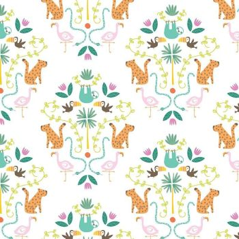 Under The Canopy Main White Toucan Sloth Flamingo Leopard Jungle Animal Citrus and Mint Cotton Fabric