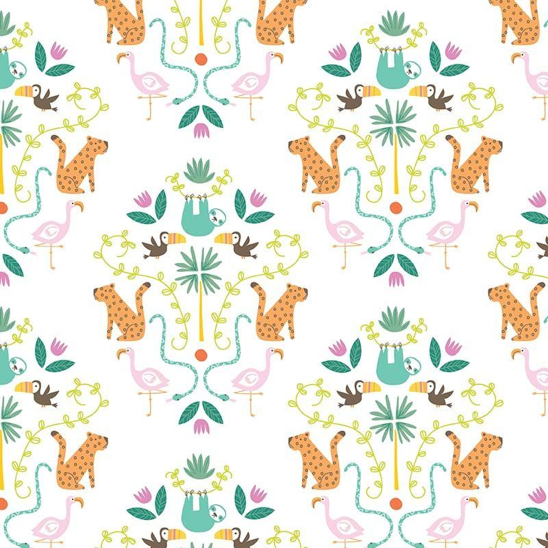 Under The Canopy Main White Toucan Sloth Flamingo Leopard Jungle Animal Cit