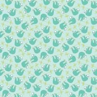 Under The Canopy Sloths Blue Hanging Sloth Citrus and Mint Cotton Fabric