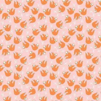 Under The Canopy Sloths Pink Hanging Sloth Citrus and Mint Cotton Fabric