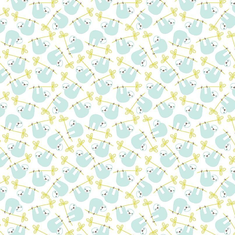 Under The Canopy Sloths White Hanging Sloth Citrus and Mint Cotton Fabric