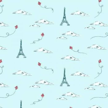 Parisienne Eiffel Tower Horizon Paris Kites Travel French City Landmark Sky Clouds Europe Dear Stella Cotton Fabric