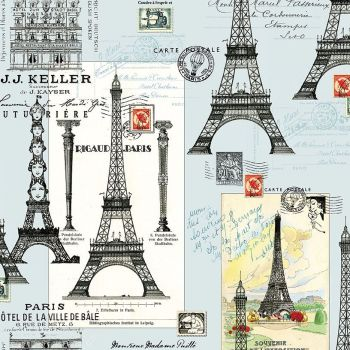 Couturiere Parisienne Eiffel Tower Travel French City Postage Europe Dear Stella Cotton Fabric