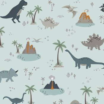 Fossil Rim 2 Main Dinosaurs Light Blue Jurassic Dino Dinosaur Riley Blake Designs Cotton Fabric