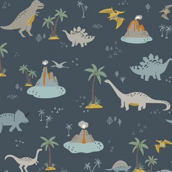 Fossil Rim 2 Main Dinosaurs Navy Jurassic Dino Dinosaur Riley Blake Designs Cotton Fabric