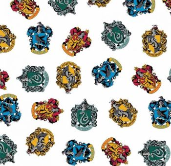 Harry Potter School Crest White Hogwarts House Magical Wizard Witch Cotton Fabric