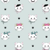 Chloe and Friends Main Mint Cats Kitty Cat Faces Riley Blake Designs Novelty Cotton Fabric
