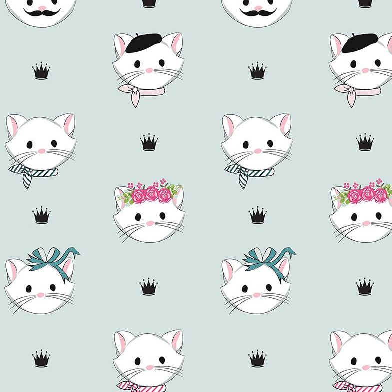 Chloe and Friends Main Mint Cats Kitty Cat Faces Riley Blake Designs Novelt
