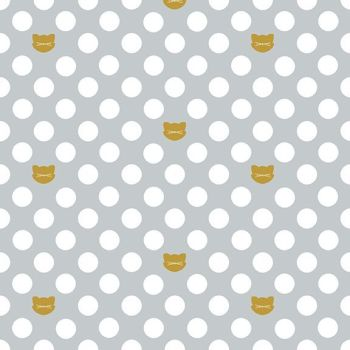 Chloe and Friends Cat Dot Faces Polka Dots Spot Metallic Gold Cats Riley Blake Designs Novelty Cotton Fabric