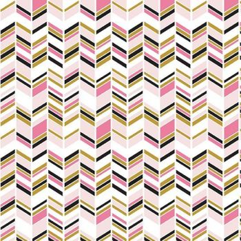 Chloe and Friends Herringbone White Pink Geometric Metallic Gold Riley Blake Designs Novelty Cotton Fabric