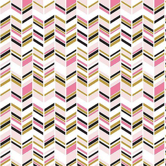 Chloe and Friends Herringbone White Pink Geometric Metallic Gold Riley Blak