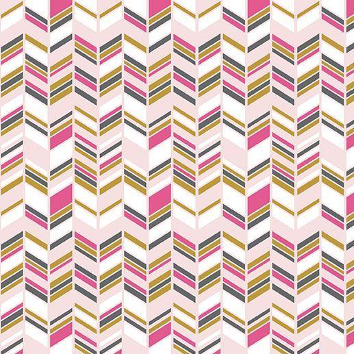 Chloe and Friends Herringbone Pink Geometric Metallic Gold Riley Blake Desi