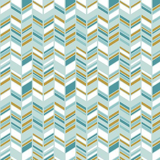 Chloe and Friends Herringbone Mint Geometric Metallic Gold Riley Blake Desi