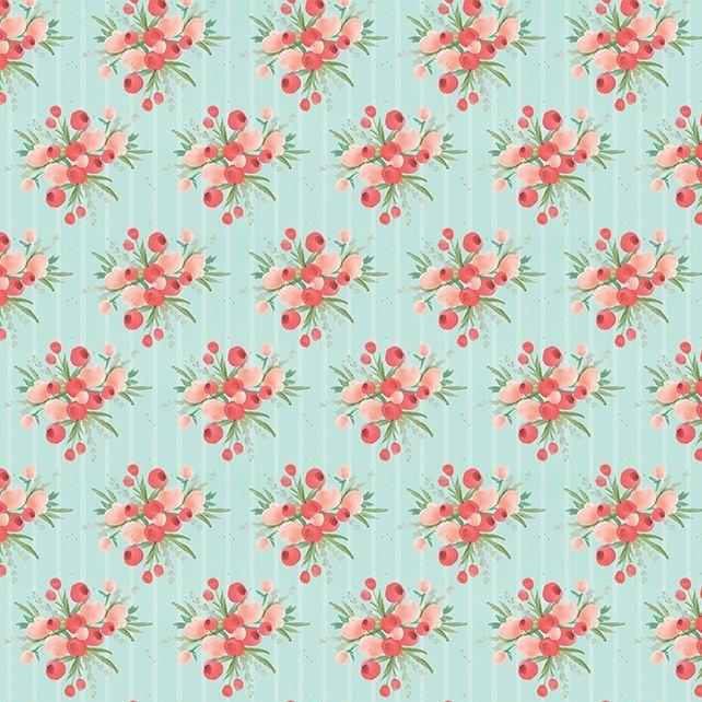 Flower Market Mint Bouquets Stripe Ditsy Floral Flowers Riley Blake Designs