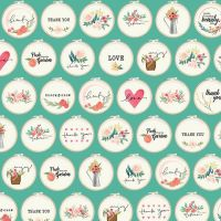 Flower Market Hoops Mint Teal Tiny Embroidery Hoops Text Ditsy Floral Flowers Riley Blake Designs Cotton Fabric