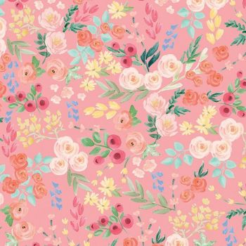 Flower Market Wallpaper Light Coral Ditsy Floral Flowers Riley Blake Designs Cotton Fabric
