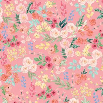 DESTASH 1.5m Flower Market Wallpaper Light Coral Ditsy Floral Flowers Riley Blake Designs Cotton Fabric