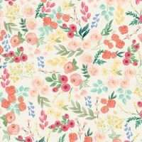 Flower Market Wallpaper Cream Ditsy Floral Flowers Riley Blake Designs Cotton Fabric