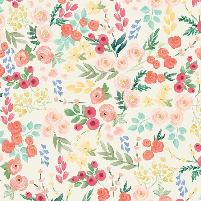 Flower Market Wallpaper Cream Ditsy Floral Flowers Riley Blake Designs Cott