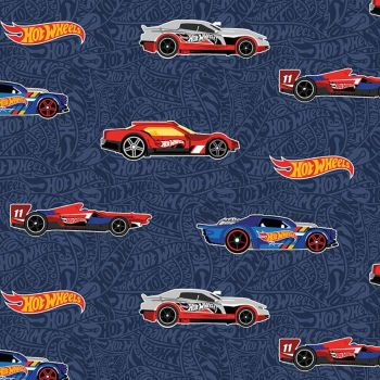 Hot Wheels Mattel Main Navy Car Race Cars Logo Racing Toys Riley Blake Designs Cotton Fabric