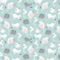 Purrfect Day Cats Yarn Balls Aqua Cat Knitting Knitters Wool Riley Blake Designs Novelty Cotton Fabric