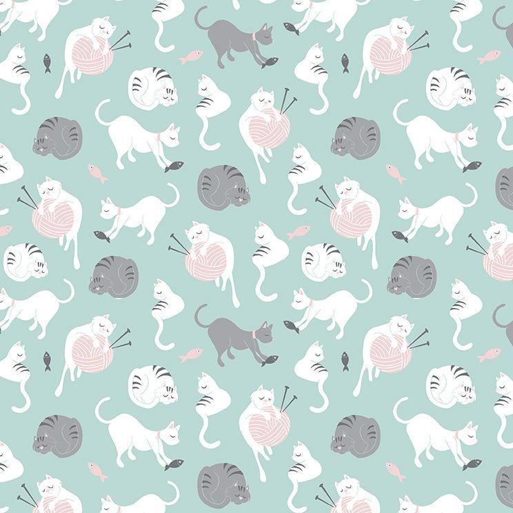 Purrfect Day Cats Yarn Balls Aqua Cat Knitting Knitters Wool Riley Blake De