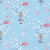V & A Alice in Wonderland Cheshire Cat Blue Lewis Carroll Character Cotton Fabric