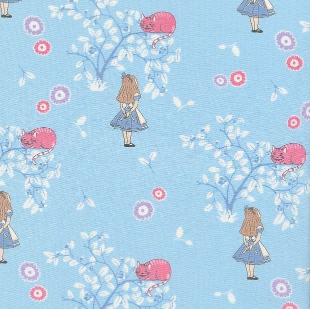 V & A Alice in Wonderland Cheshire Cat Blue Lewis Carroll Character Cotton