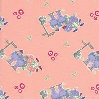 V & A Alice in Wonderland Tweedle Dee and Tweedle Dum Pink Lewis Carroll Character Cotton Fabric