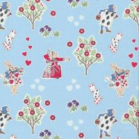 V & A Alice in Wonderland Queen of Hearts Blue Lewis Carroll Character Cotton Fabric
