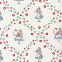 V & A Alice in Wonderland Floral Flamingo White Lewis Carroll Character Cotton Fabric