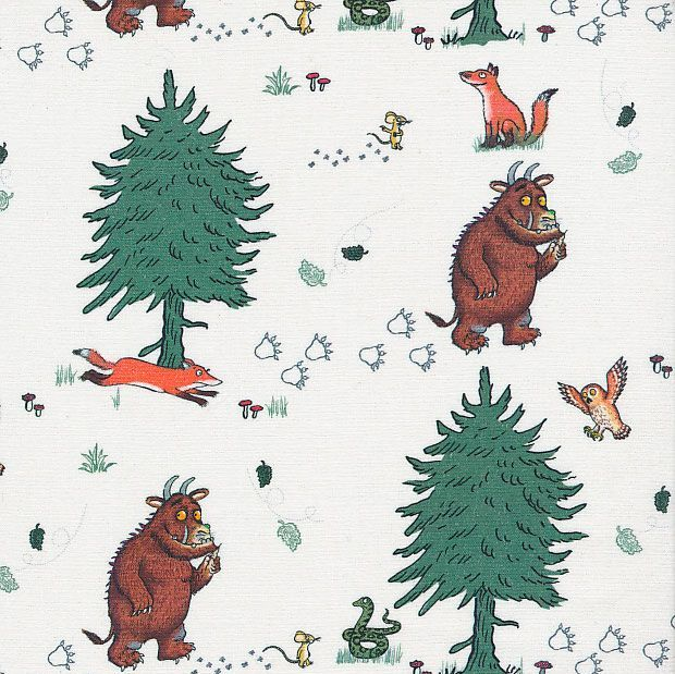 The Gruffalo Walk in the Woods White Julia Donaldson Nursery Cotton Fabric