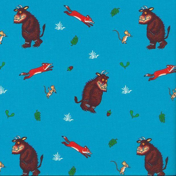 The Gruffalo Fox and Mouse Blue Julia Donaldson Nursery Cotton Fabric