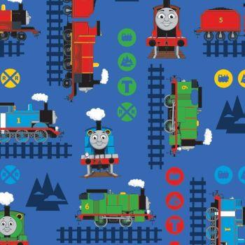 Thomas and Friends Train Adventure Thomas The Tank Engine Blue Nursery Cotton Fabric