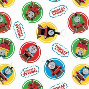 Thomas and Friends Classic Character Badges White Thomas The Tank Engine Nursery Cotton Fabric