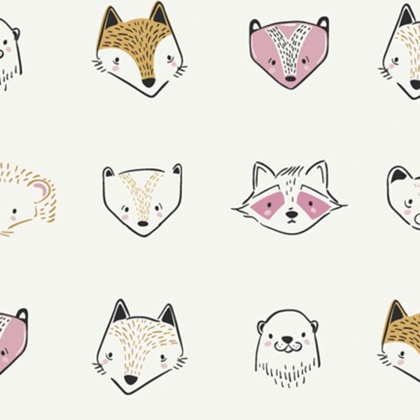 Art Gallery Fabrics Furries in Sweet Pine Lullaby Raccoon Fox Otter Nursery