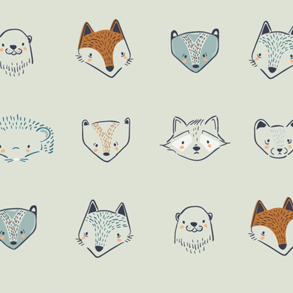 Art Gallery Fabrics Furries in Forester Little Forester Fusion Raccoon Fox