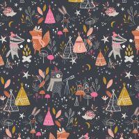 Under The Stars Star Gazing Bear Fox Badger Telescope Animal Tent Nursery Cotton Fabric