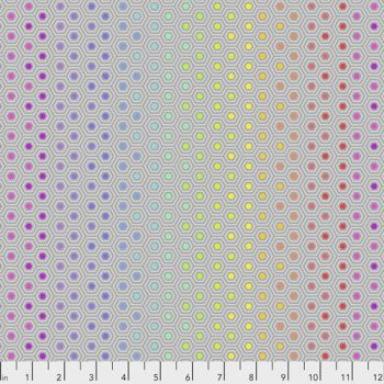 FULL BOLT 13.7m Tula Pink True Colors Hexy Rainbow Dove Ombre Hexagon Spot Cotton Fabric - SHIPPING RESTRICTIONS