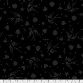 FULL BOLT 13.7m Tula Pink LINEWORK Fairy Flakes Ink Monochrome Cotton Fabric - SHIPPING RESTRICTIONS