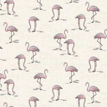DESTASH 1.15m Flamingos Fern Garden Flamingo Cream Bird Tropical Cotton Fabric